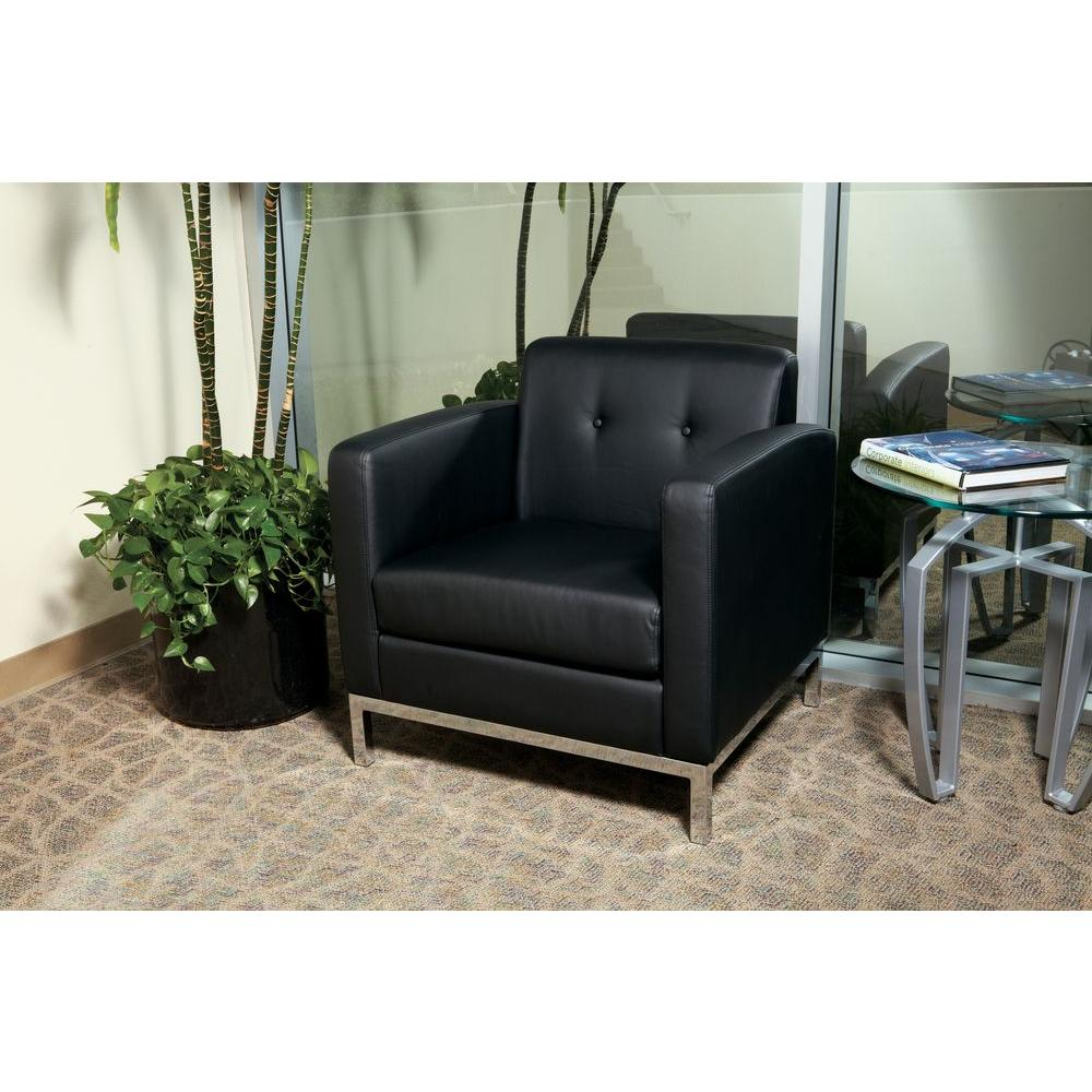 Awesome Ave Six Wall Street Black Faux Leather Arm Chair