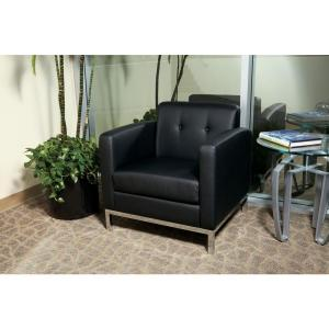 Wall Street Black Faux Leather Arm Chair