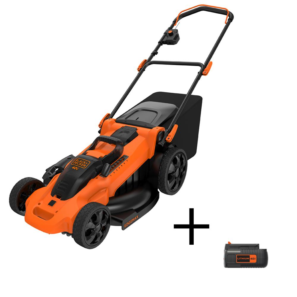 BLACK+DECKER 20 in. 40-Volt MAX Lithium-Ion Cordless Electric Walk Behind Push Lawn Mower 2.5 Ah Batteries/Charger with 2 Ah Pack