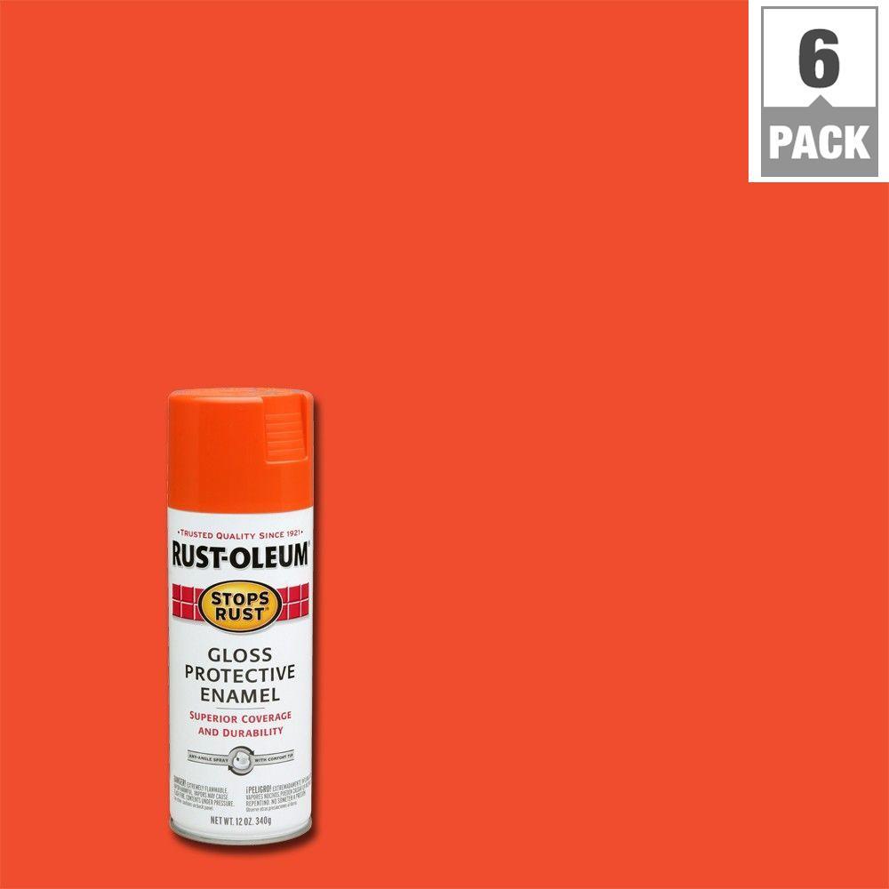 Rust-Oleum Stops Rust 12 oz. Protective Enamel Orange Gloss Spray Paint (6-Pack)