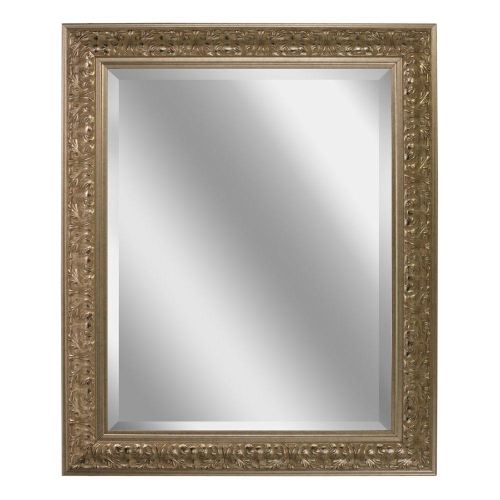 Deco Mirror 29 in. x 35 in. Ornate Mirror in Silver