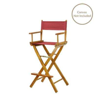 30 in. Director's Chair Honey Oak Solid Wood Frame