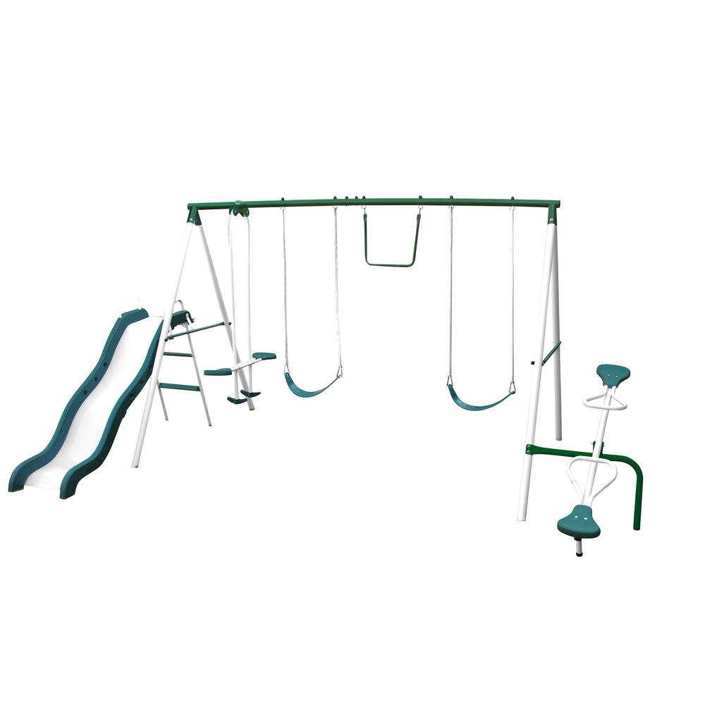 Live Oak Metal Swing and Slide Set