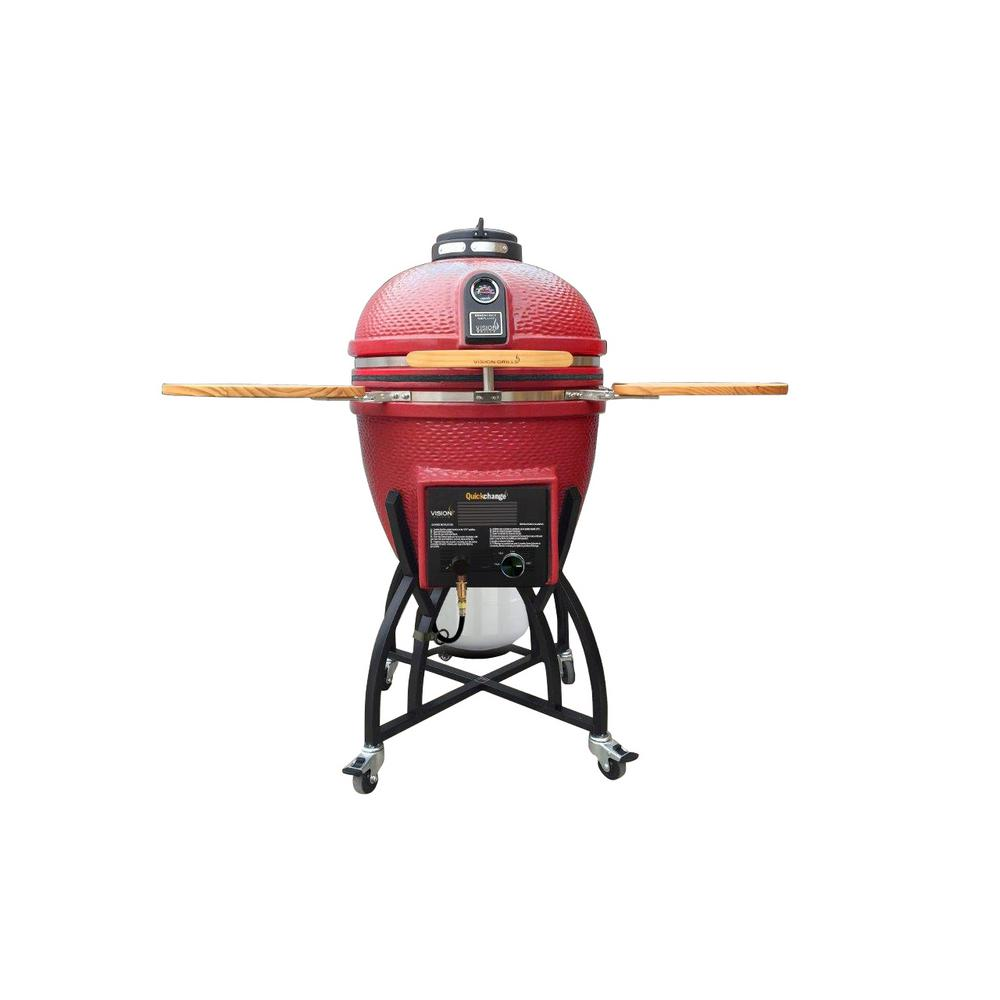 Vision Grills Kamado Char-Gas Dual Fuel Charcoal/Gas Grill in Chili Red with Grill Cover