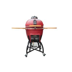 Vision Grills Kamado Char-Gas Dual Fuel Charcoal/Gas Grill in Chili Red with Grill Cover by Vision Grills