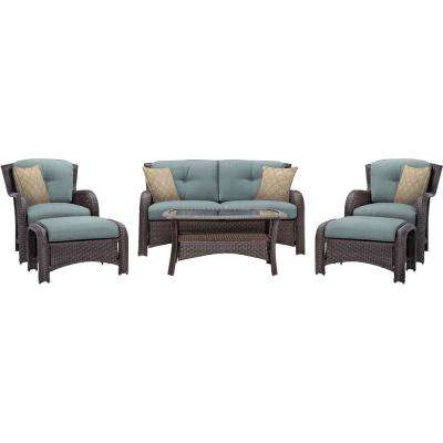 Corolla 6-Piece Wicker Patio Conversation Set with Blue Cushions