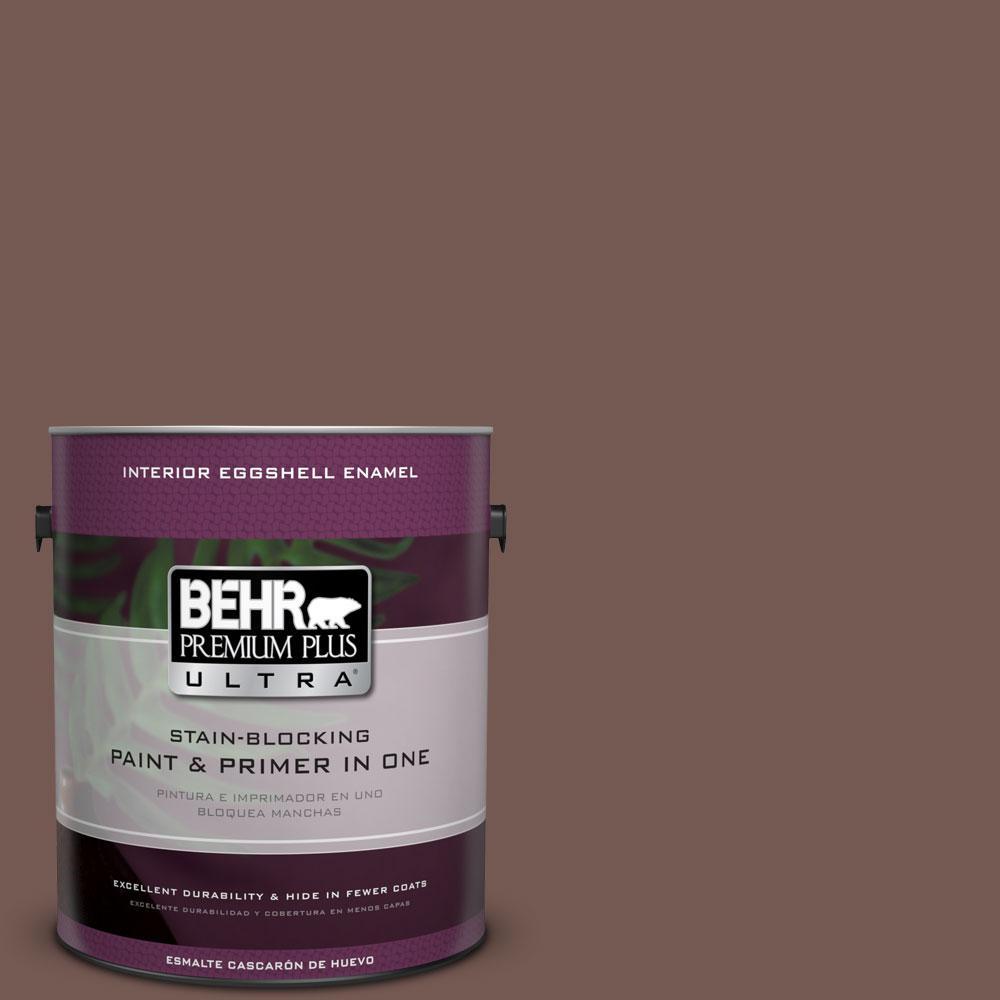 BEHR Premium Plus Ultra 1-gal. #220F-7 Yorkshire Brown Eggshell Enamel Interior Paint