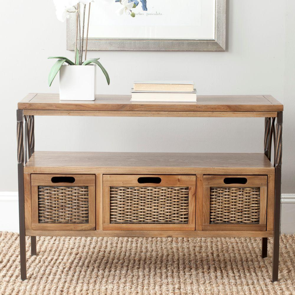Safavieh joshua oak storage console table amh6532c the home depot geotapseo Gallery