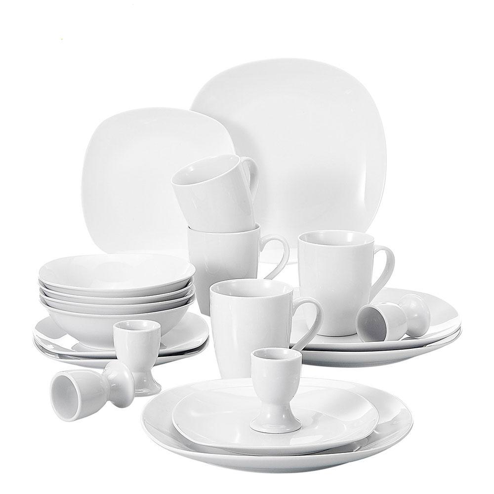 Elisa White Porcelain 20-Piece Casual Ivory White Porcelain Dinnerware Set (Service for 4)