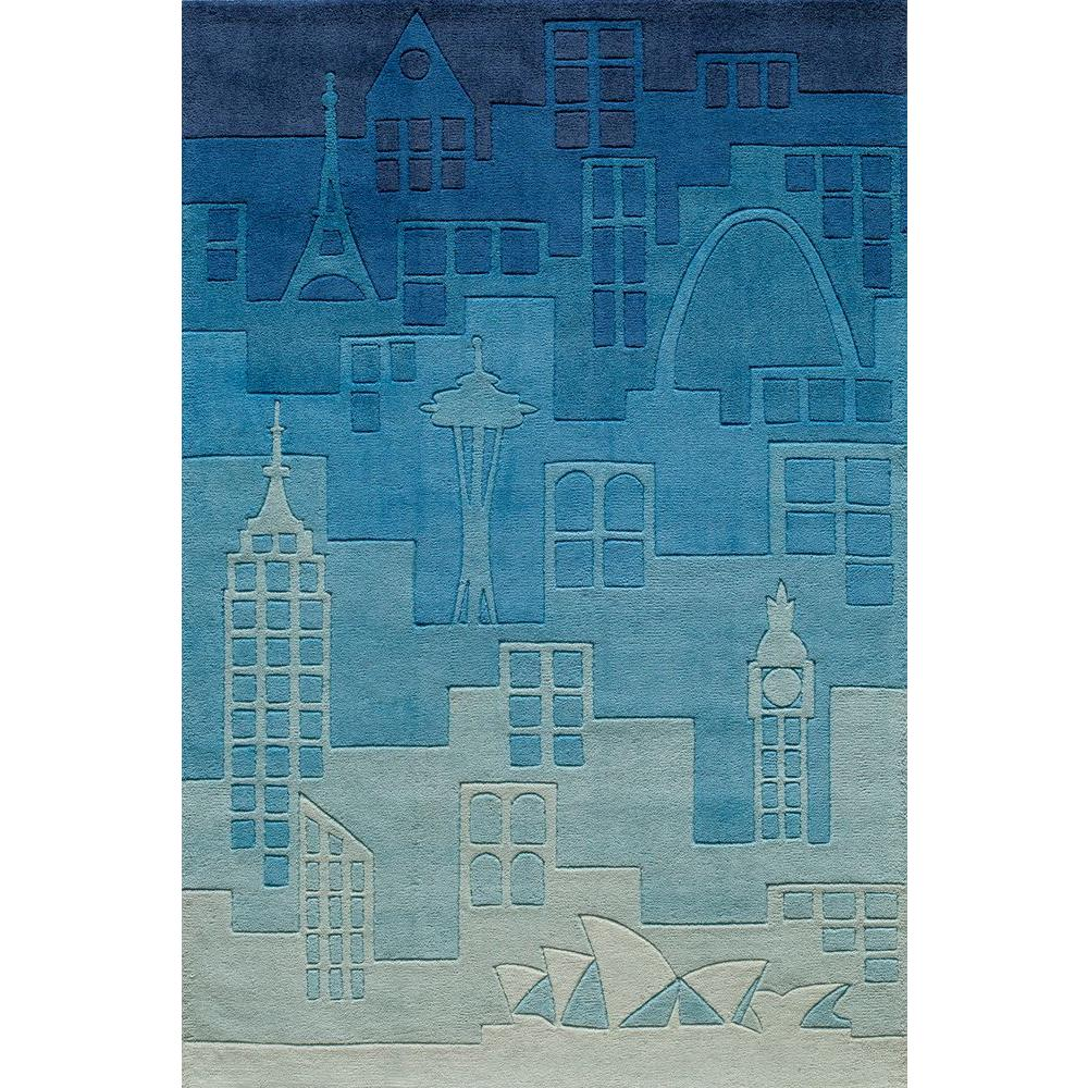 Young Buck Collection Blue 4 ft. x 6 ft. Area Rug