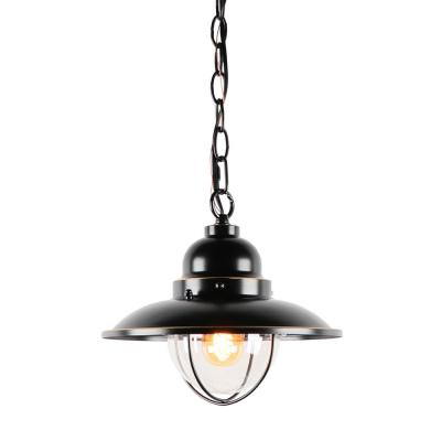 Small 1-Light Imperial Black Outdoor Hanging Light Clear Glass