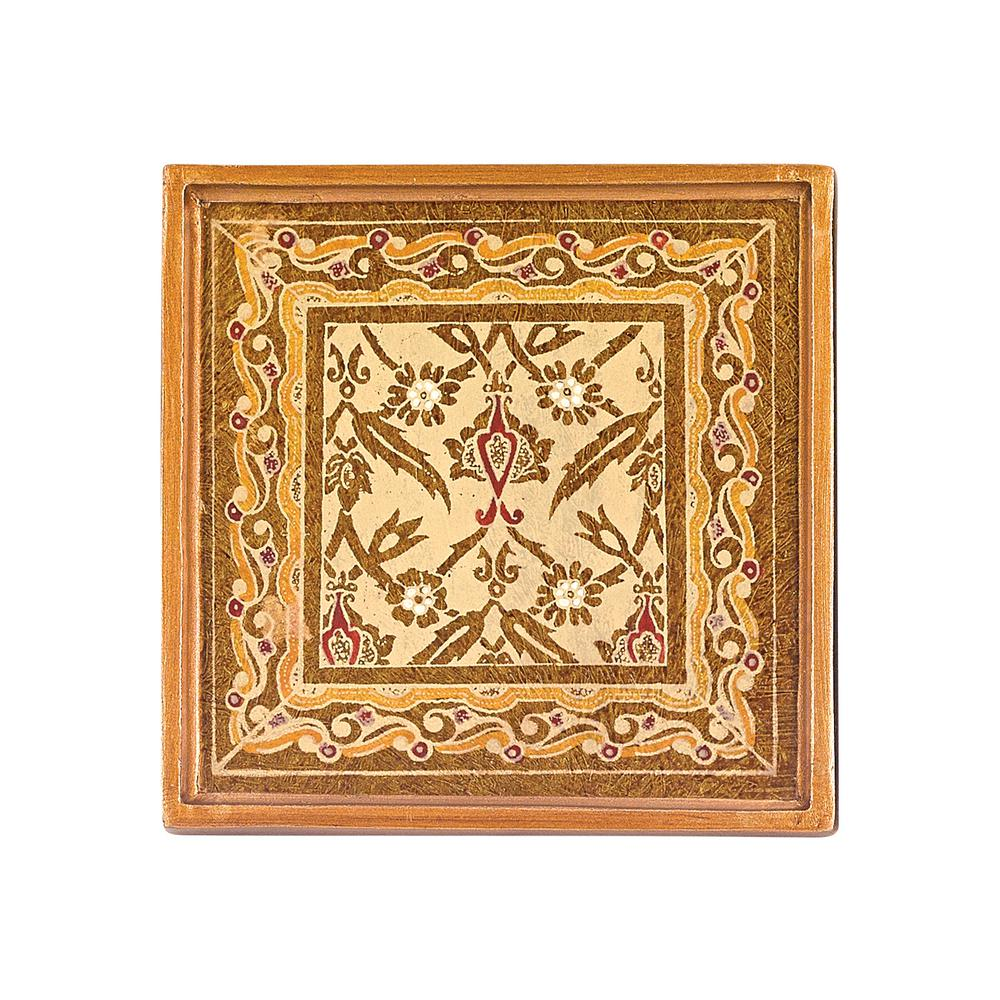 4 in. 4-Piece Square Antigua Sand Coaster Set