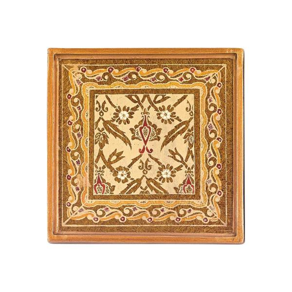 Badash Crystal 4 in. 4-Piece Square Antigua Sand Coaster Set RC4-AS