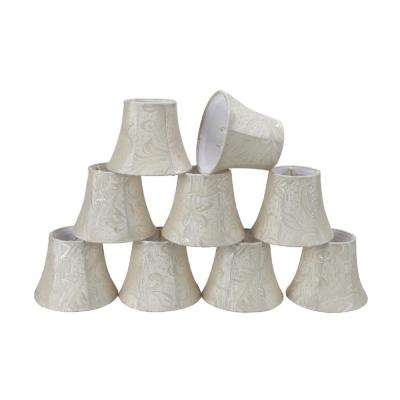 5 in. x 4 in. Off White and Leaf Bell Lamp Shade (9-Pack)