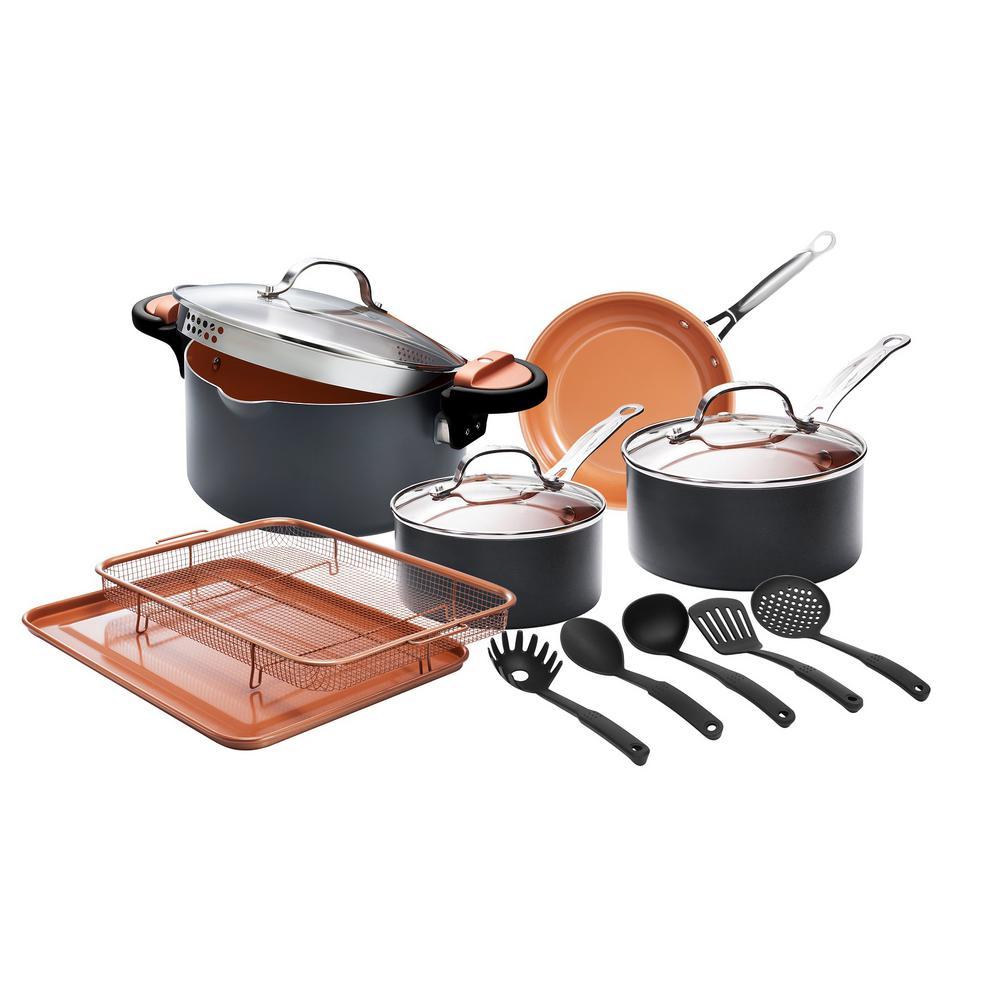 14-Piece Aluminum Ti-Ceramic Nonstick Cookware Set with Utensils