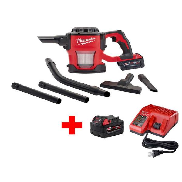M18 18-Volt Lithium-Ion Cordless Compact Vacuum W/ M18 Starter Kit W/ (1) 5.0Ah Battery and Charger