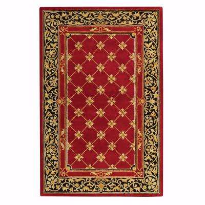 Churchill Red with Design 5 ft. 3 in. x 8 ft. 3 in. Area Rug