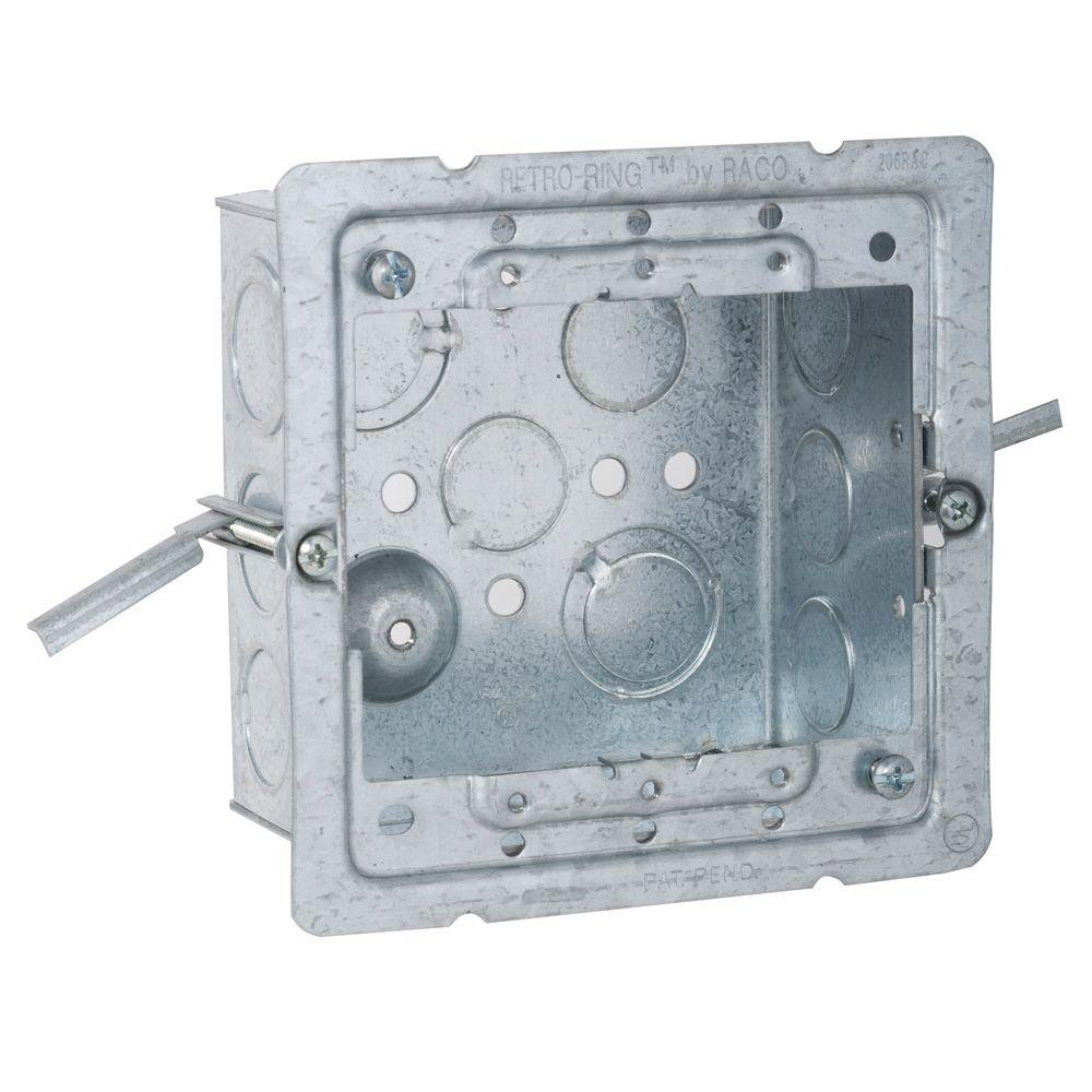 RACO 4 in. Square Welded Box, 2-1/8 Deep with Old Work RETRO-RING and 1/2 and 3/4 in. TKO's (25-Pack)