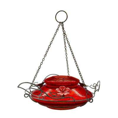Red Crackle Modern Top Fill Hummingbird Feeder