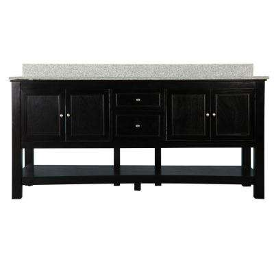Gazette 72 in. W x 22 in. D Bath Vanity Combo in Espresso with Granite Vanity Top in Rushmore Grey