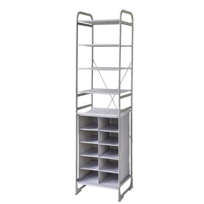 4-Tier Fabric Versa System Shelf with a 10-Cubby Fabric Shoe Storage Tower in Alloy Gray