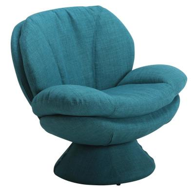 Comfy Blue Upholstered Swivel Scoop Chair