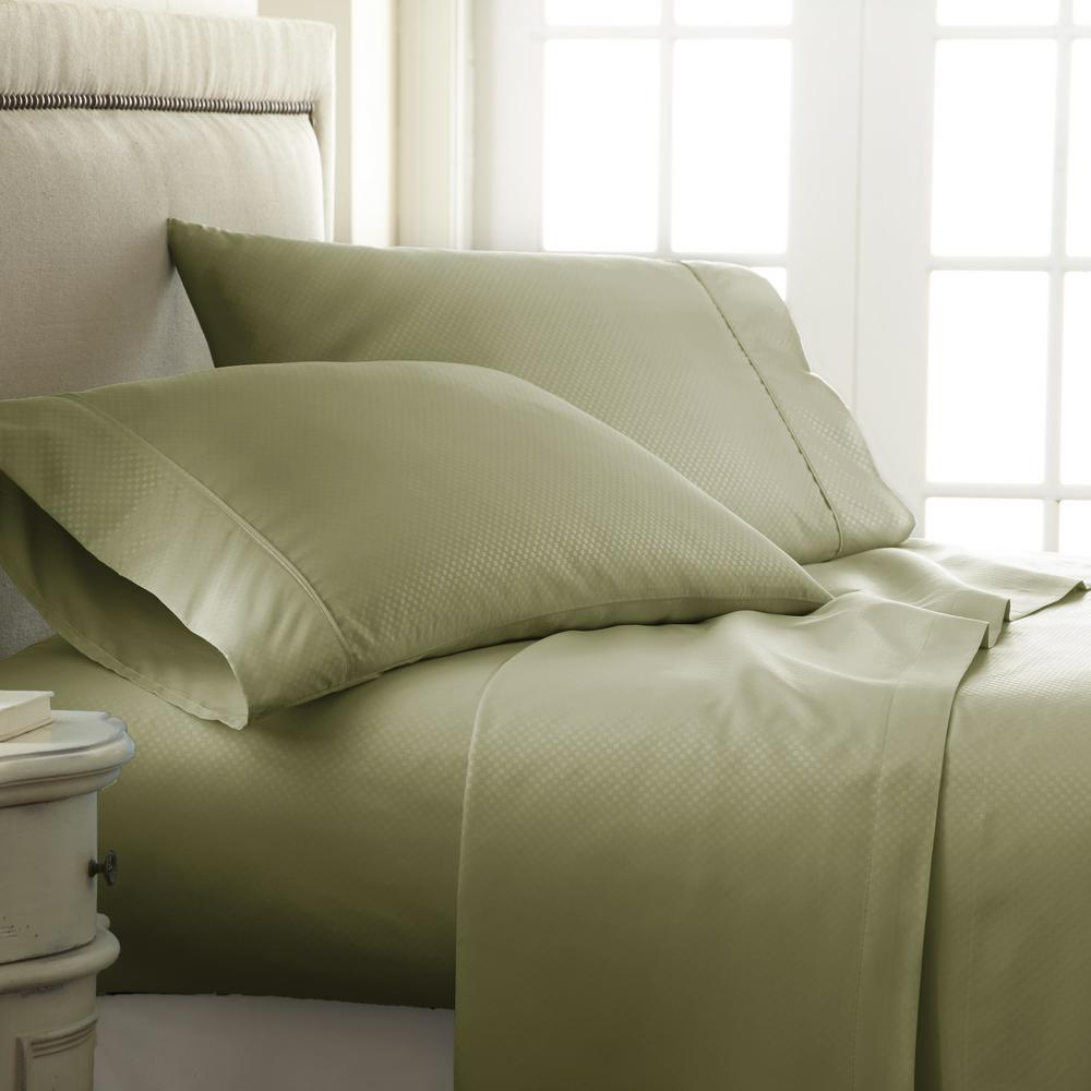 Embossed Checkered Sage California King Performance 4-Piece Bed Sheet Set