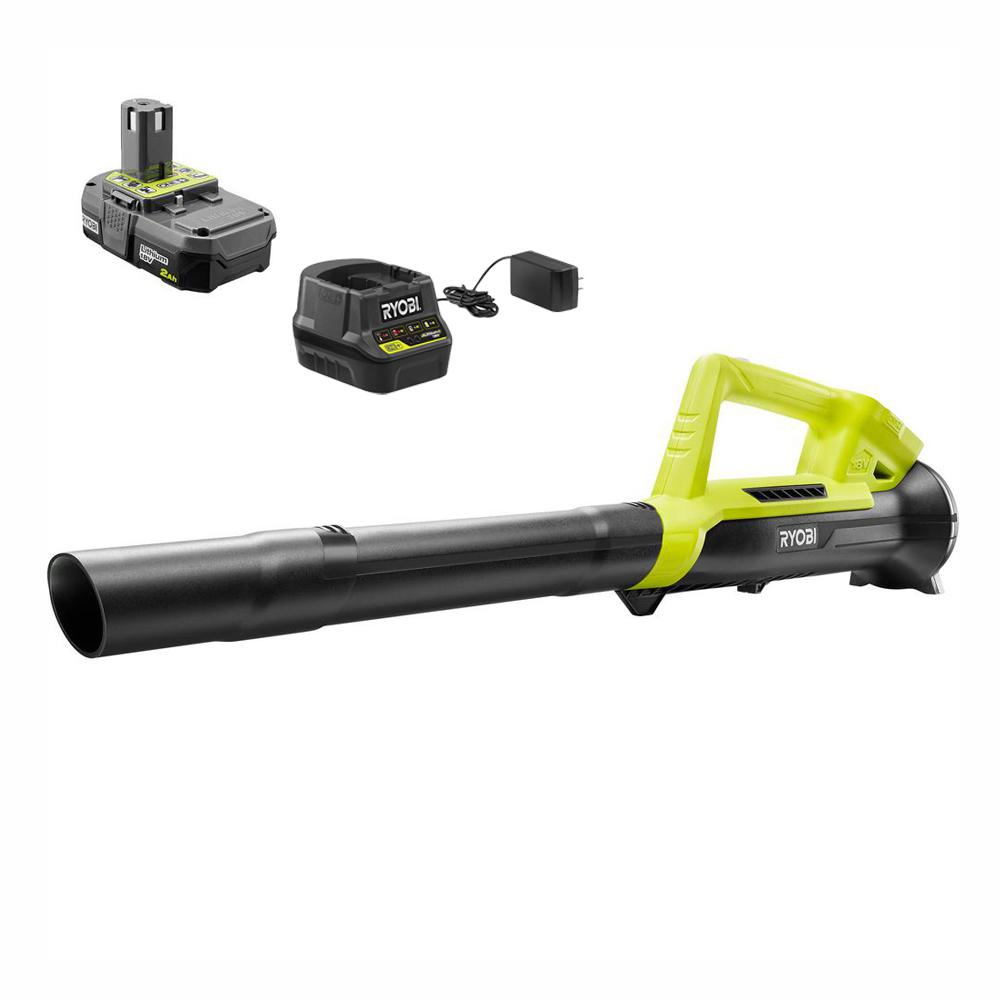 RYOBI ONE+ 90 MPH 200 CFM 18-Volt Lithium-Ion Cordless Leaf Blower/Sweeper - 2.0 Ah Battery and Charger Included