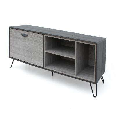 Dark Oak Brown TV Console with 2 Shelves