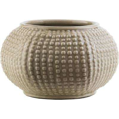 Verim 5.91 in. Tan Ceramic Decorative Vase