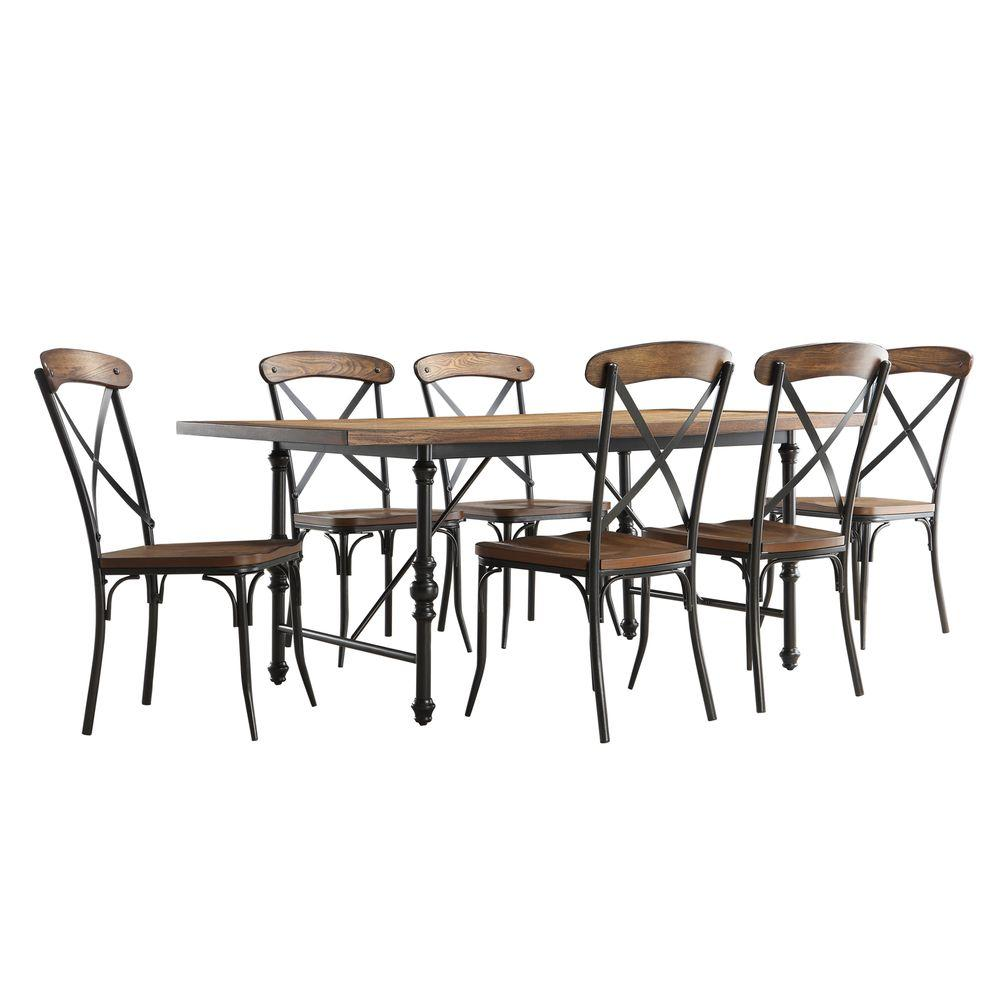 Homesullivan Cabella 7 Piece Distressed Ash Dining Set