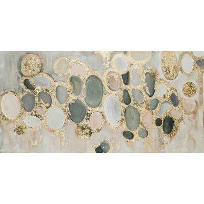 "30 in. x 60 in. ""Stepping Stones"" by Jade Printed and Painted Canvas Wall Art"