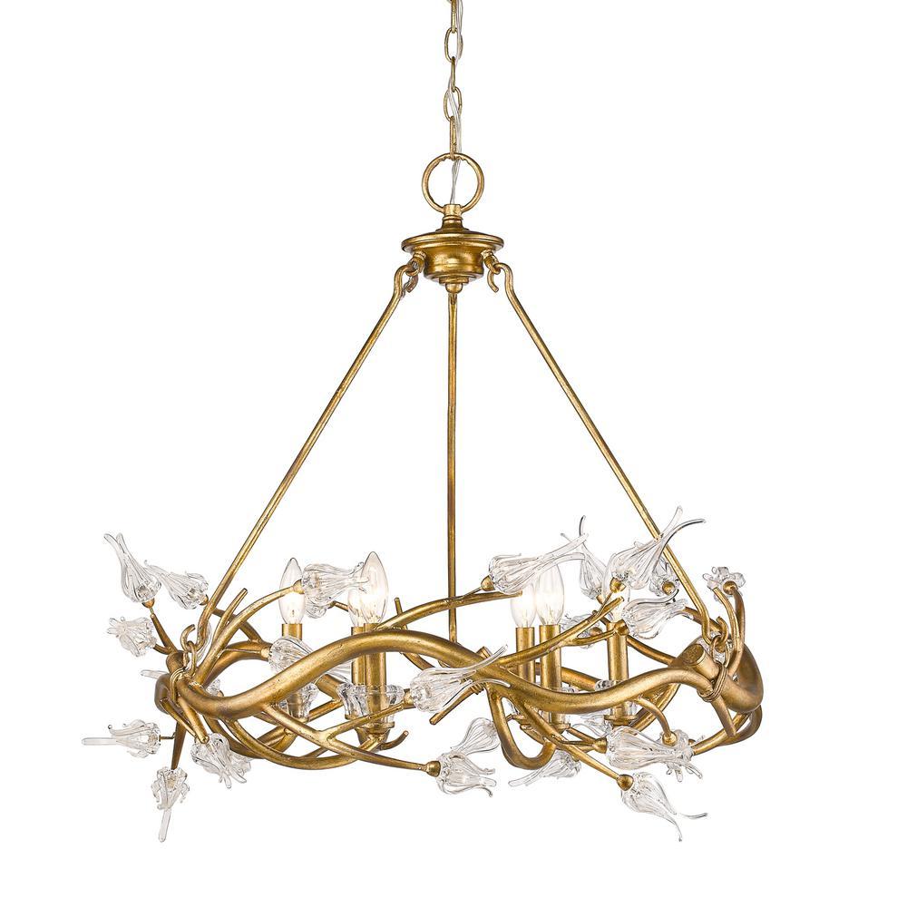 Golden lighting aiyana 6 light gold leaf chandelier with clear glass golden lighting aiyana 6 light gold leaf chandelier with clear glass flower shades 9942 6 gl the home depot arubaitofo Choice Image
