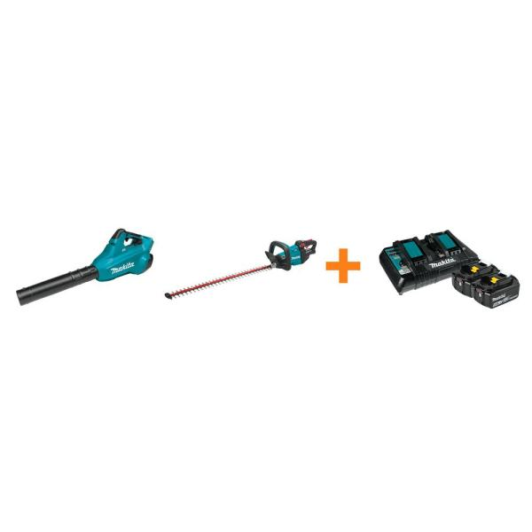 18V X2 LXT Blower and 18V LXT 30 in. Hedge Trimmer with bonus 18V LXT Starter Pack