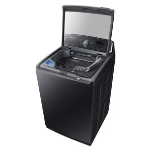 Samsung 5 2 cu  ft  High-Efficiency Top Load Washer with Steam and  Activewash in Black Stainless, ENERGY STAR