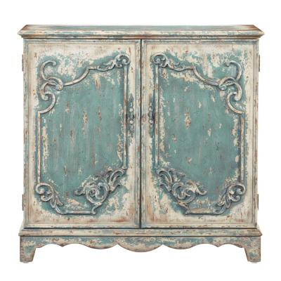 Belle Antique French Blue Credenza/Console Cabinet
