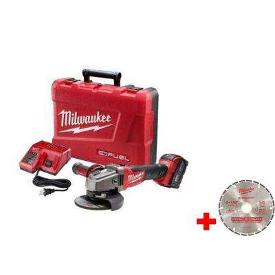 M18 FUEL 18-Volt Lithium-Ion Brushless 4-1/2 in. /5 in. Grinder, Slide Switch Lock-On Kit w/ 4-1/2 in. Diamond Blade