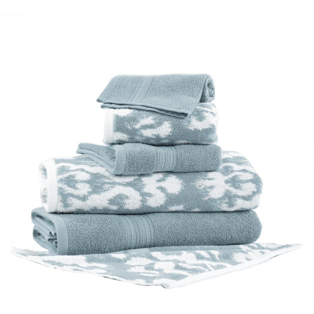 Ikat Damask 6-Piece Cotton Bath Towel Set in Sterling Blue
