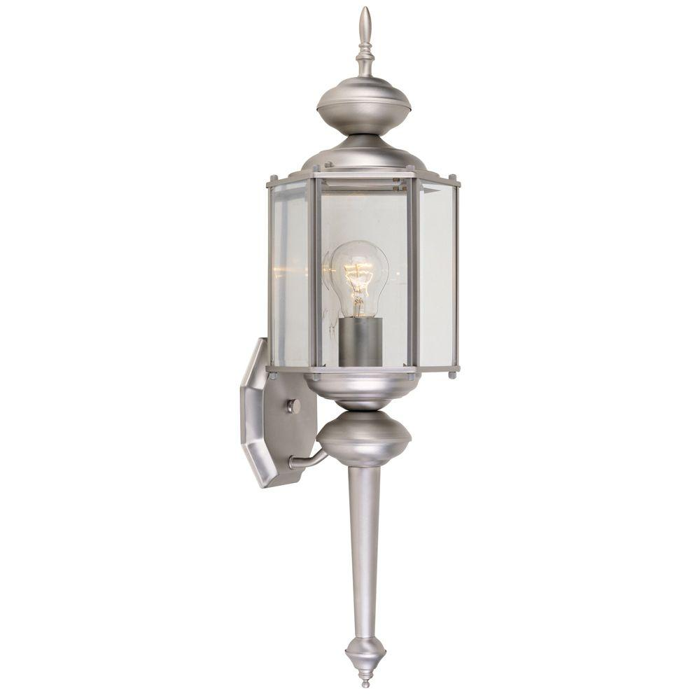 Exeter Collection Pewter Outdoor Wall-Mount Lantern