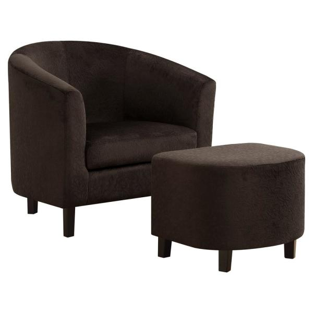 Dark Brown Floral Velvet 2-Piece Accent Chair