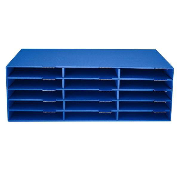 AdirOffice 9.5 in. x 29 in. Blue 15-Slot Construction Paper Storage