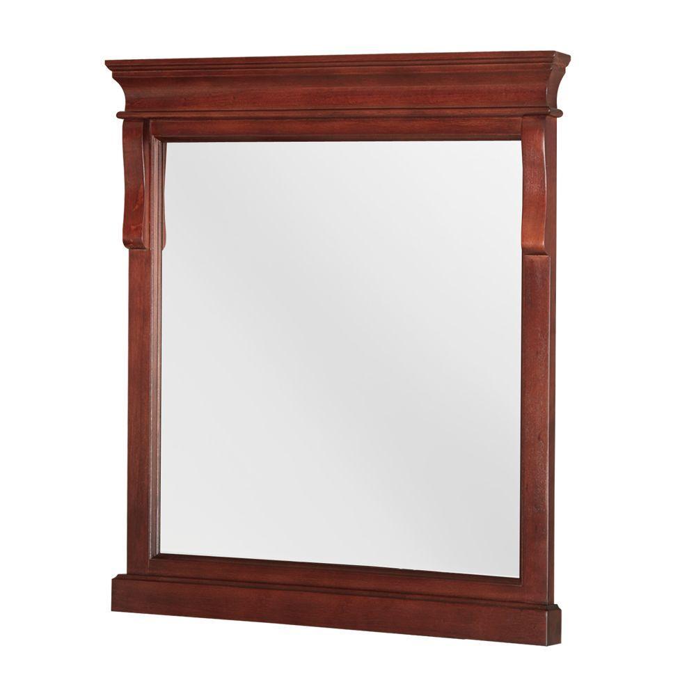 24 in. W x 32 in. H Framed Rectangular  Bathroom Vanity Mirror in Tobacco