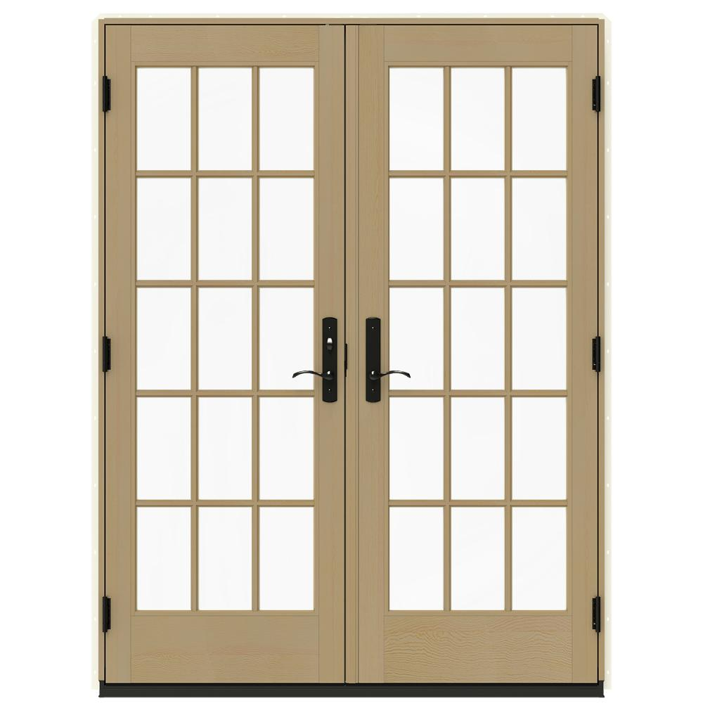 Jeld wen 60 in x 80 in w 4500 vanilla prehung right hand for Home depot prehung french doors