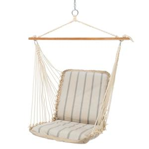 Click here to buy  Single Sunbrella Cushioned Hammock Swing in Cove Pebble.