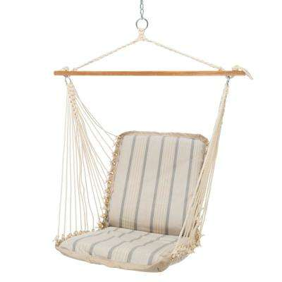 Single Sunbrella Cushioned Hammock Swing in Cove Pebble