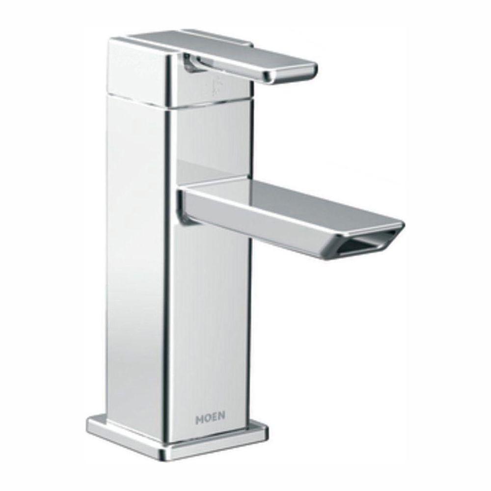 MOEN 90-Degree Single Hole Single-Handle Low-Arc Bathroom Faucet in Chrome
