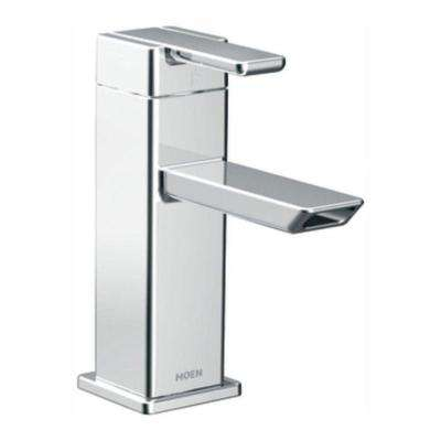 90-Degree Single Hole Single-Handle Low-Arc Bathroom Faucet in Chrome
