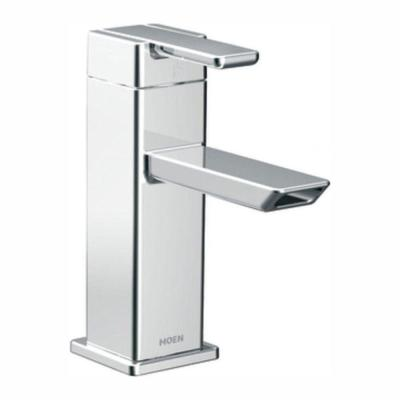 90 Degree Single Hole Single-Handle Low-Arc Bathroom Faucet in Chrome