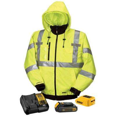 Unisex Large High Visibility Yellow 20-Volt/12-Volt MAX Heated Jacket Kit with 20-Volt Lithium-Ion Battery and Charger