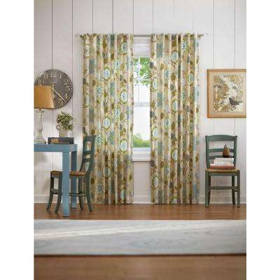 Semi-Opaque Pear Floral Cottage Back Tab Curtain